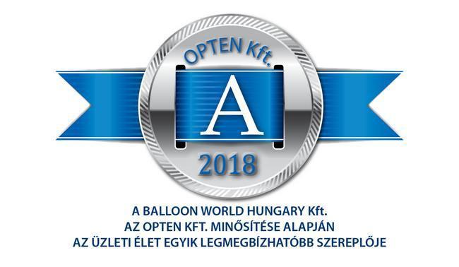 """""""A"""" minősítésben jutalmazta a Balloon World-öt az Opten Kft."""