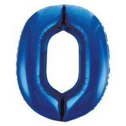 0-ás Kék Számos Héliumos Fólia Lufi, 86 cm