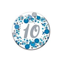 10-es Kék Pasztell Konfettis Kitűző
