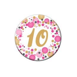 10-es Rózsaszín Pasztell Konfettis Kitűző