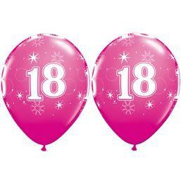 18-as Számú Csillagos Vadmálna Rózsaszín Gumi Lufi, 28 cm, 25 db