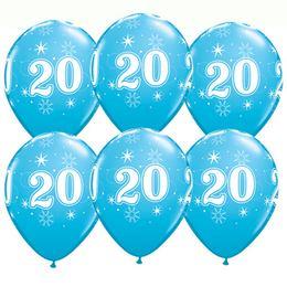 11 inch-es 20-as Sparkle-A-Round Robins Egg Blue Szülinapi Lufi (6 db/csomag)