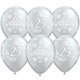 11 inch-es 25th Anniversary Damask Silver Lufi (25 db/csomag)