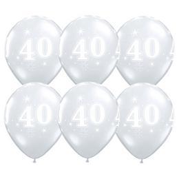 11 inch-es 40-es Sparkle-A-Round Diamond Clear Szülinapi Lufi (25 db/csomag)