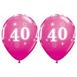 40-es Számú Csillagos Vadmálna Rózsaszín Gumi Lufi, 28 cm, 25 db