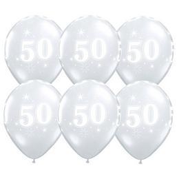 11 inch-es 50-es Sparkle-A-Round Diamond Clear Szülinapi Lufi (25 db/csomag)