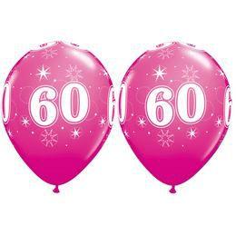 60-as Számú Csillagos Vadmálna Rózsaszín Gumi Lufi, 28 cm, 25 db