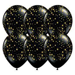 Arany Csillag Mintás Fekete  Kerek Gumi (Latex) Lufi, 25 db, 28 cm