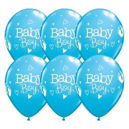 11 inch-es Baby Boy Footprints & Hearts Robins Egg Blue Lufi (25 db/csomag)
