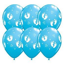 11 inch-es Baby Footprints and Hearts Robins Egg Blue Lufi (6 db/csomag)
