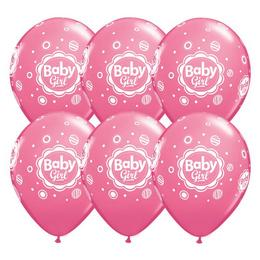 Kislányos Rózsaszín Gumi Lufi Babaszületésre, 28 cm, 6 db