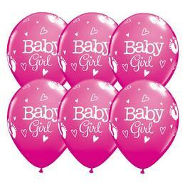 11 inch-es Baby Girl Footprints & Hearts Rose Lufi (25 db/csomag)