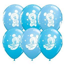 11 inch-es Baby Mickey Stars Pale Blue & Robins Egg Blue Lufi (25 db/csomag)