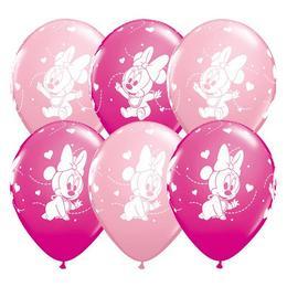 11 inch-es Baby Minnie Hearts Pink & Berry Lufi (25 db/csomag)