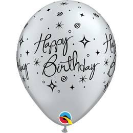 11 inch-es Birthday Elegant Sparkles Silver Szülinapi Lufi (6 db/csomag)