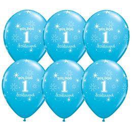 11 inch-es Boldog 1. Szülinapot Feliratú Sparkle Robins Egg Blue Szülinapi Lufi (6 db
