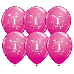 Boldog 1. Szülinapot - Vadmálna Rózsaszín Szülinapi Latex Lufi