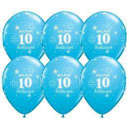 Boldog 10. Szülinapot Feliratú  Égszínkék Szülinapi Gumi Lufi