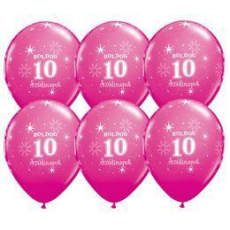 Boldog 10. Szülinapot Feliratú Vadmálna Rózsaszín Lufi - 6 db