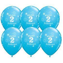 11 inch-es Boldog 2. Szülinapot Feliratú Sparkle Robins Egg Blue Szülinapi Lufi (6 db