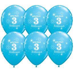 11 inch-es Boldog 3. Szülinapot Feliratú Sparkle Robins Egg Blue Szülinapi Lufi (6 db