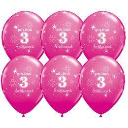 Boldog 3. Szülinapot - Vadmálna Rózsaszín Szülinapi Latex Lufi