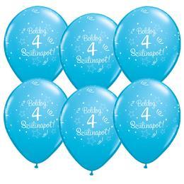 11 inch-es Boldog 4. Szülinapot Feliratú Shin. Robins Egg Blue - Égszínkék Szülinapi