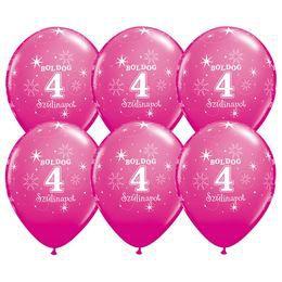 Boldog 4. Szülinapot - Vadmálna Rózsaszín Szülinapi Latex Lufi