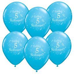 11 inch-es Boldog 5. Szülinapot Feliratú Shin. Robins Egg Blue - Égszínkék Szülinapi