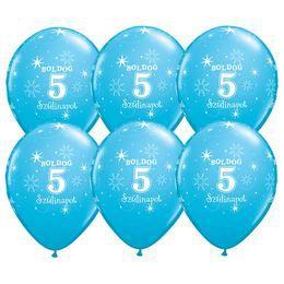 11 inch-es Boldog 5. Szülinapot Feliratú Sparkle Robins Egg Blue Szülinapi Lufi (25 d