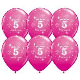 11 inch-es Boldog 5. Szülinapot Feliratú Sparkle Wild Berry Szülinapi Lufi (25 db/cso