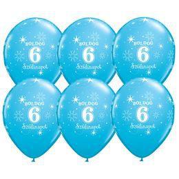 11 inch-es Boldog 6. Szülinapot Feliratú Sparkle Robins Egg Blue Szülinapi Lufi (25 d