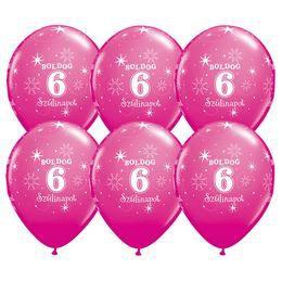 Boldog 6. Szülinapot Feliratú Vadmálna Rózsaszín Szülinapi Lufi