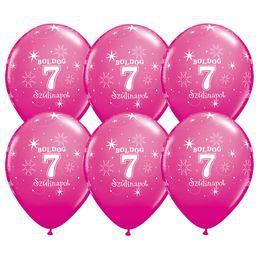 Boldog 7. Szülinapot - Vadmálna Rózsaszín Szülinapi Latex Lufi