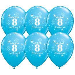 11 inch-es Boldog 8. Szülinapot Feliratú Sparkle Robins Egg Blue Szülinapi Lufi (6 db
