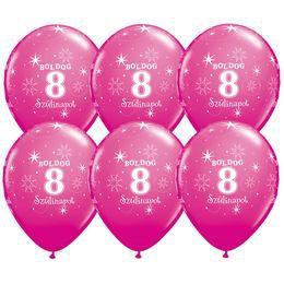 11 inch-es Boldog 8. Szülinapot Feliratú Sparkle Wild Berry Szülinapi Lufi (25 db/cso