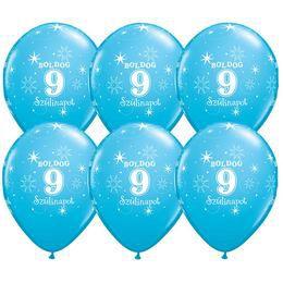 11 inch-es Boldog 9. Szülinapot Feliratú Sparkle Robins Egg Blue Szülinapi Lufi (25 d