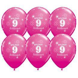 11 inch-es Boldog 9. Szülinapot Feliratú Sparkle Wild Berry Szülinapi Lufi (25 db/cso