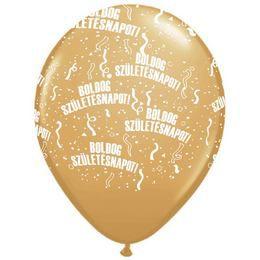 11 inch-es Boldog Születésnapot Metallic Gold - Arany Lufi (6 db/csomag)
