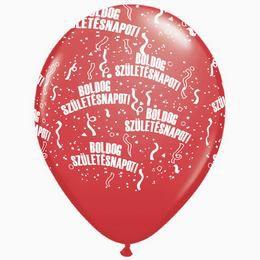 11 inch-es Boldog Születésnapot Sparkling Burgundy - Bordó Lufi (25 db/csomag)