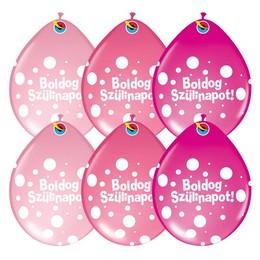 16 inch-es Boldog Szülinapot Big Polka Dots Neck Up Lufi Lányos Színekben (25 db/csom