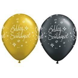 11 inch-es Boldog Szülinapot Gold és Black - Arany és Fekete Lufi (25 db/csomag)
