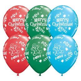 Karácsonyi Cukorka és Nyalóka Mintás Karácsonyi Kerek Latex Lufi