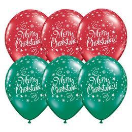 11 inch-es Christmas! Festive Emerald Green & Ruby Red Lufi (25 db/csomag)