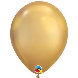 Króm Arany Színű Gumi Lufi, 25 db, 28 cm