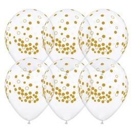 11 inch-es Confetti Dots Diamond Clear Lufi (25 db/csomag)