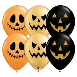 Halloween Arcok Fekete Arany Narancssárga Gumi Lufi, 25 db, 28 cm