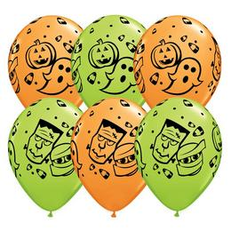 11 inch-es Halloween Fun! Orange & Lime Green Lufi (25 db/csomag)
