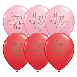 11 inch-es Happy Valentine's Day Script Assorted Red and Pink Szerelmes Lufi (25 db/c