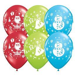 11 inch-es Hóember, Pingvin és Mikulás Mintájú Karácsonyi Lufi (6 db/csomag)